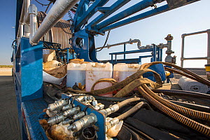 Fracking truck at site near Wasco in California's Central Valley, USA. September 2014.  -  Ashley Cooper