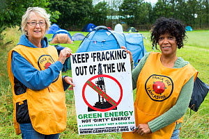 Women protestors with a protest banner against fracking at a farm site at Little Plumpton near Blackpool, Lancashire, UK, where the council for the first time in the UK, has granted planning permissio...  -  Ashley Cooper