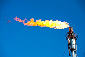 Flaring off gas at the Flotta oil terminal on the Island of Flotta in the Orkney's Scotland, UK.  October 2011.  -  Ashley Cooper
