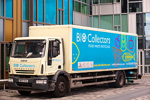 Food waste collection truck in London, UK, which will take the waste to a bio-digester plant to create bio-gas.  -  Ashley Cooper