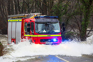 Fire engine going through flood waters on the Ambleside, Coniston road, Rothay bridge,  Lake District on Saturday 5th December 2015, during torrential rain from storm Desmond. England, UK, December 20...  -  Ashley Cooper