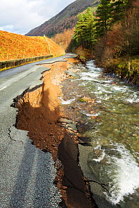 The A591, the main road through the Lake District, completely destroyed by the floods from Storm Desmond, Cumbria, UK. Taken on Sunday 6th December 2015. England, UK, December 2015. - Ashley Cooper