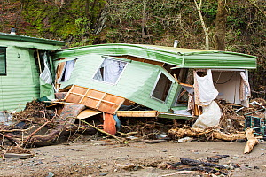 Caravan park on the banks of the River Greta damaged by floods from Storm Desmond, Cumbria, England, UK, 6th January 2016. - Ashley Cooper