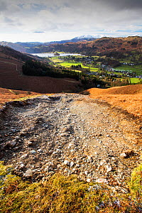 Storm Desmond wreaked havoc across Cumbria with floods and destruction. The super saturated ground failed in many places leaving landslip scars on many of the fellsides, this one is on Stone Arthur ab...  -  Ashley Cooper