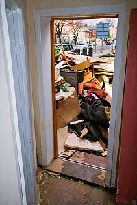 Furniture and belongings discarded after flooding caused by severe storm, Carlisle, Cumbria, England, UK, 12th January 2005. - Ashley Cooper