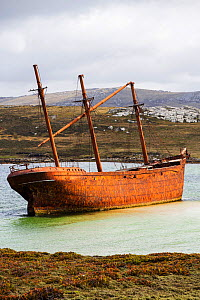 Shipwreck of the Lady Elizabeth on the outskirts of Port Stanley, the capital of the Falkland Islands. February 2014. - Ashley Cooper