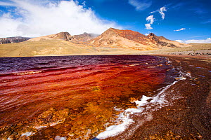 Laguna Miluni, contaminated with mine effluent and with a low level due to drought. This reservoir is fed by glacial meltwater from the Andean peak, Huayna Potosi, Bolivian Andes. October 2015. - Ashley Cooper