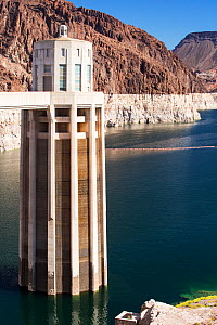Intake towers for the hydro plant on the Hoover Dam, Lake Mead, Nevada, USA. The lake is at a very low level due to the four year long drought. September 2014.  -  Ashley Cooper