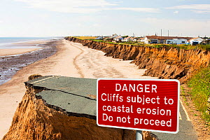Collapsed coastal road near Skipsea, Yorkshire, England, UK. August 2013. - Ashley Cooper