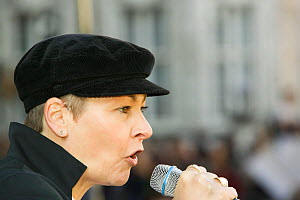 Caroline Lucas a Green Party MEP at the I Count climate change rally in London, UK, November 2006. - Ashley Cooper