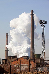 Hangdang Steel works, with billow of vapor, Hangdang, Northern China. March 2009. - Ashley Cooper