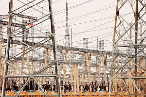 Electricity pylons, in China.  In 2008 China officially became the worlds largest emitter of greenhouse gases, Northern china. March 2009. - Ashley Cooper
