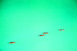 Canoes on Lake Louise, Banff National Park, Alberta, Canada, August 2012.  -  Ashley Cooper