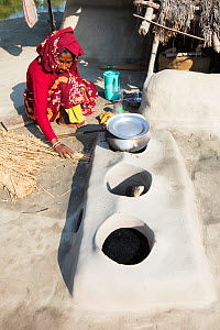 Woman subsistence farmer cooking on a traditional clay oven, using rice stalks as biofuel in the Sunderbans, Ganges Delta, India. 2013. - Ashley Cooper