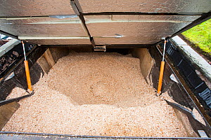 Woodchip hopper for a biofuel boiler in the grounds of the Langdale Estate, Lake District,Since the installation of the biofuel boiler, which replaced an LPG gas boiler, the company has saved �30,000...  -  Ashley Cooper