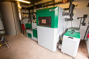 Biofuel boiler in the grounds of the Langdale Estate, Lake District. Since the installation of the biofuel boiler, which replaced an LPG gas boiler, the company has saved �30,000 a year in running cos...  -  Ashley Cooper