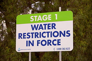 Signs near Echuca, Australia, about water restrictions and saving water. Victoria and New South Wales were affected by a drought which lasted from 1996-2011. Victoria, Australia, February 2010. - Ashley Cooper