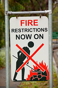 Fire restriction sign near Kinglake, one of the communities worst affected by the catastrophic 2009 Australian Bush Fires in the state of Victoria in which 173 people were killed. Victoria, Australia....  -  Ashley Cooper