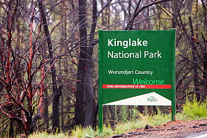 Kinglake National Park sign by burnt forest near Kinglake, one of the communities worst affected by the catastrophic 2009 Australian bush fires in the state of Victoria in which 173 people were killed... - Ashley Cooper