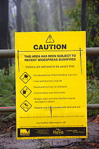 Warning Sign in burnt forest near  Kinglake, one of the communities worst affected by the catastrophic 2009 Australian Bush Fires in the state of Victoria in which 173 people were killed. Victoria, Au...  -  Ashley Cooper