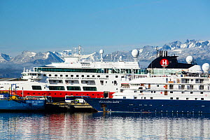Antarctic cruise boats moored in the town of Ushuaia,  Tierra del Fuego, Argentina. February 2014.  -  Ashley Cooper
