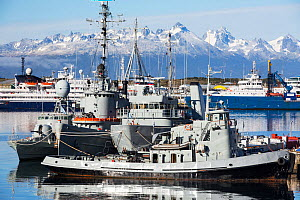 Argentinian Naval vessels in the town of Ushuaia, Tierra del Fuego, Argentina. February 2014.  -  Ashley Cooper