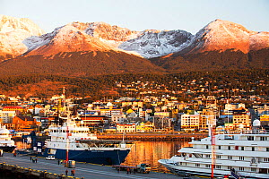 Sunrise over Antarctic expedition ships in the harbour of  Ushuaia,  Tierra del Fuego, Argentina. February 2014.  -  Ashley Cooper