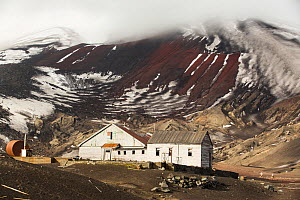 Old British Antarctic Survey station, abandoned in 1967 when it was over run by a volcanic eruption. Deception Island, South Shetland Islands, Antarctic Peninsula. - Ashley Cooper