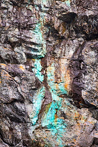 Copper deposits in a cliff at Almirante Brown, Paradise Bay, Antarctic Peninsula.  -  Ashley Cooper