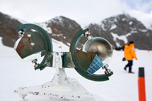 Campbell Stokes Sunshine Recorder, which measures hours of sunlight at Base Orcadas, an Argentine scientific station in Laurie Island, South Orkney Islands, Antarctic Peninsula. - Ashley Cooper