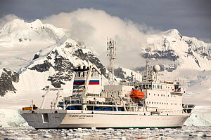 Akademik Sergey Vavilov, an ice strengthened ship on an expedition cruise to Antarctica, in the Gerlache Strait, Antarctic Peninsula. - Ashley Cooper