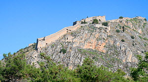 Palamidi Castle, a Venetian fortress high on a hill overlooking Nafplio and the Argolic Gulf, Argolis, Peloponnese, Greece, July 2017.  -  Nick Upton