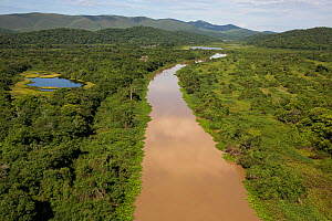 Aerial view of the Pantanal around the Rio Paraguay or Paraguay River, at the end of the dry season, Brazil. November. Photographed for The Freshwater Project  -  Michel  Roggo