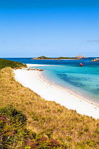 Pentle Bay with a sailing dinghy, Tresco, Isles of Scilly, UK. June 2015. - Merryn Thomas