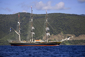 The Stad Amsterdam, a three-masted clipper, off the coast of  Dominica, January 2015.  -  Franco  Banfi