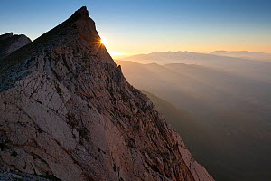 Last rays of sun on northern slope of Mount Camicia in the Gran Sasso Massif. Gran Sasso National Park, Central Apennines, Abruzzo, Italy, August.  -  Bruno D'Amicis