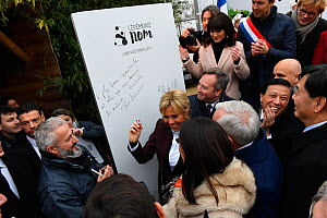 Brigitte Macron, wife of the French president, dedicating a panel at the closure of the naming ceremony of the 4-month-old panda cub Yuan Meng at Beauval Zoo. St-Aignan, France,  December 4, 2017.  ED...  -  Eric Baccega