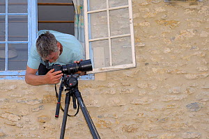 Nick Upton setting up a remote camera on an extension roof to photograph Common swifts (Apus apus) coming and going from a nest box under the eaves of a cottage, Hilperton, Wiltshire, UK, June 2016. M... - Nick Upton