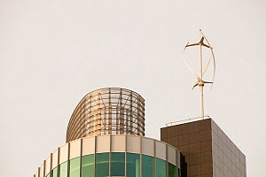 Urban wind turbine on the roof of The Peninsula, a new office development in Manchester, England, UK. January 2010 - Ashley Cooper