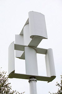 A vertical axis wind turbine in the grounds of a Tesco supermarket in Oldham, Lancashire, UK. October 2009  -  Ashley Cooper
