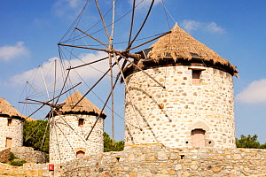 Old traditional Greek cloth sailed windmills in Kontias on Lemnos, Greece. October 2012  -  Ashley Cooper