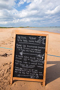 A sign about a nesting colony of Arctic and Little Terns near Low Newton, Norhumberland, UK. July 2014 - Ashley Cooper