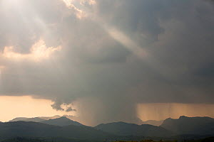 Thunder storm passing over the Langdale Pikes, Lake District, England, UK. May 2012 - Ashley Cooper