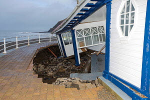 Victorian promenade shelter destroyed by severe storm, Aberystwyth, Wales, UK. January 2014 - Ashley Cooper