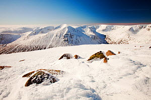 View towards the Angels Peak and Braeriach across the Lairig Ghru from the summit of Ben Macdui, on the Cairngorm mountains, Scotland, UK, February 2011 - Ashley Cooper