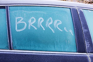 'Brrrrrr' written on a car window in the frost, Ambleside, Cumbria UK. December 2008  -  Ashley Cooper