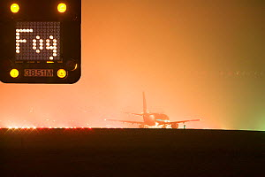 Aeroplane on the runway at East Midlands Airport in foggy conditions. December 2006 - Ashley Cooper