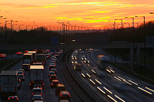 Rush hour traffic on the M60 motorway near Manchester UK. January 2007 - Ashley Cooper