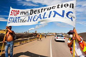 First Nation Canadians protest against the destruction and pollution of the Tar Sands industry at the 4th annual Healing Walk north of Fort McMurray, Alberta, Canada. August 2012 - Ashley Cooper