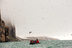Passengers on Zodiaks off the Russian research vessel, AkademiK Sergey Vavilov an ice strengthened ship on an expedition cruise to Northern Svalbard in front of the Aalkefjellet, sea bird nesting clif...  -  Ashley Cooper